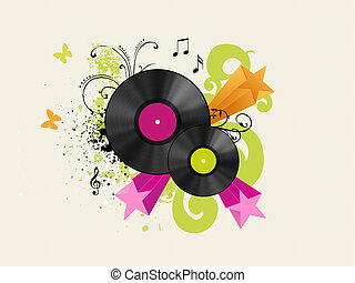 vinyl discs with floral and starred background
