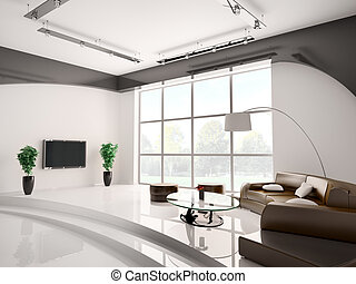 Living room interior 3d - Modern living room interior with...