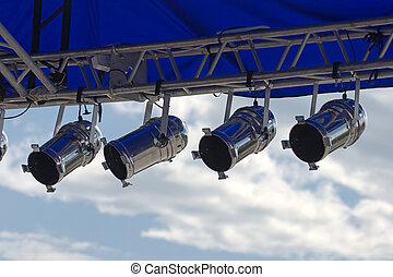 scene spotlights - spotlights on street scene, sky