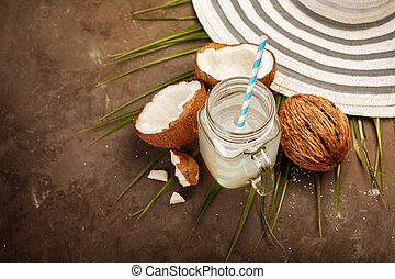 Fresh Coconut Water - Fresh Organic Coconut Water in a Glass...