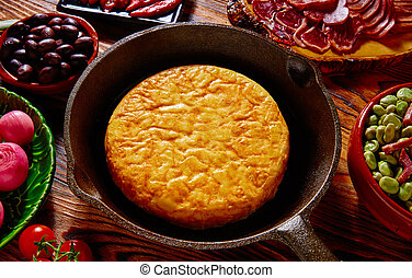 Tapas tortilla de patata potatoes omelette in a pan from...