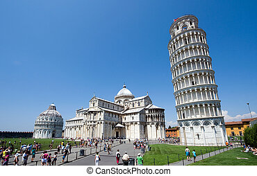 Leaning tower of Pisa - Piazza dei Miracoli complex with the...