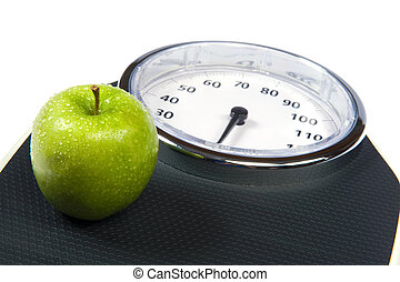 Weight Scale - A weight scale with an apple