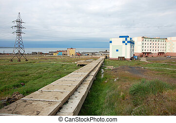 Water supply concrete collector Arctic town infrastructure,...