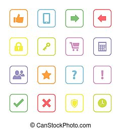 colorful web icon set 2 with rounded rectangle frame