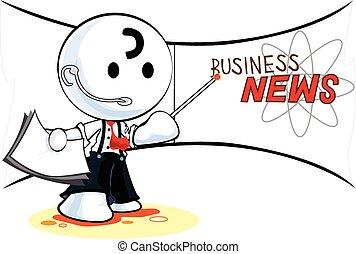 Reporter Business News Cartoon pantomime character symbol...