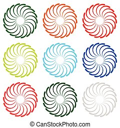 Colorful concentric, radial, radiating spiral elements with...