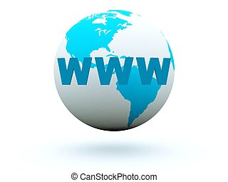 World wide web on earth background Blue and grey series