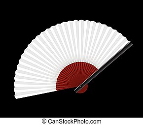 White Hand Fan Black Background - White hand fan on black...