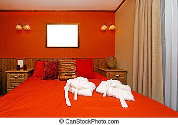 mur, rouges, chambre à coucher