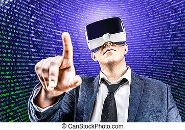 Businessman uses Virtual Reality VR head mounted display -...
