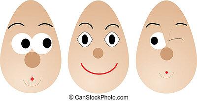 huevos, Ilustración,  vector, parte, caras,  1