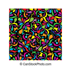 Bright seamless patten on black background, vector...