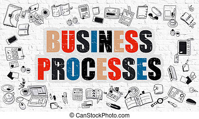 Business Processes in Multicolor Doodle Design - Business...