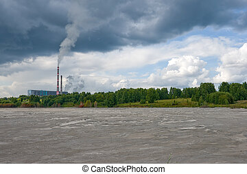 power plant and ash-disposal area