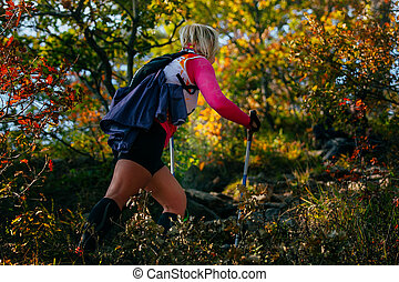 young female runner with nordic walking poles in forest,...