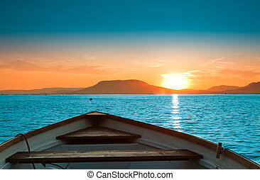 Sunset lake - A beautiful Sunset seen the fishing boat