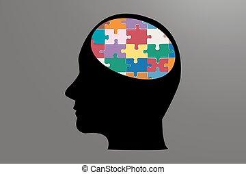 Man head of color puzzle