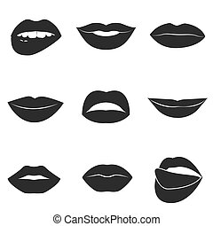 Set of glamour black lips. Beautiful female lips collection