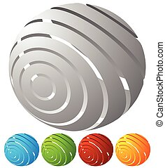 Abstract striped globe in perspective. 5 colors included.