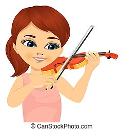 cute little girl playing violin - closeup portrait of cute...