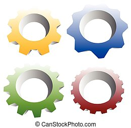 Gearwheel, cogwheel, gear shapes mechanics, industry or...