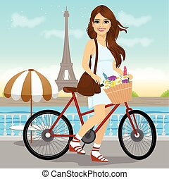 woman riding a bike with a basket full of flowers