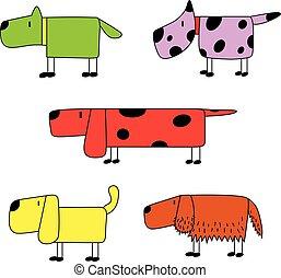 illustration set of five funny dog