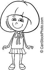girl character coloring book - Black and White Cartoon...