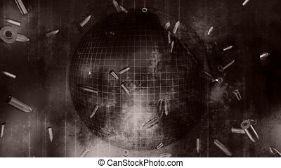 Falling bullets and grunge loop old look globe world war...