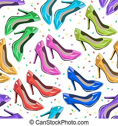 Seamless pattern of woman shoes.