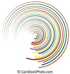 Random colorful circular, concentric lines abstract element