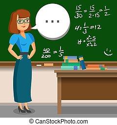 Teacher standing on blackboard background in the classroom. Vector illustration.