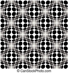 Sphere, circles abstract monochrome pattern with distortion effect. Repeatable.