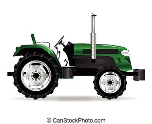 Green Isolated Tractor - A typical modern farmyard tractor...