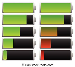 Smooth battery level indicator set. Green and colored.