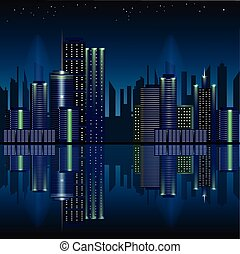 City at night, panoramic scene of downtown