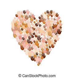 Illustration of big heart shape filled with hands - Vector...