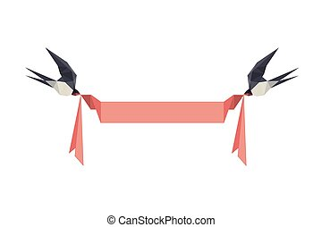 Illustration with origami swallows holding banner isolated...