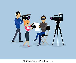 Camera Crew Team People Group Flat Style - Camera crew team...