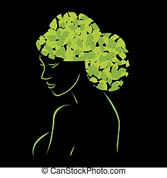 Hair with leaves