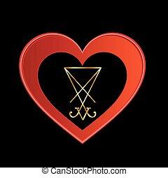 Sigil, de, lucifer, dentro, Um, heart, ,