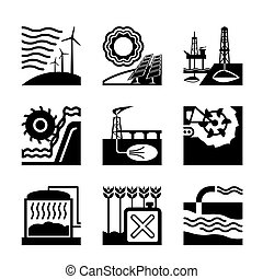 Energy sources from nature - vector illustration