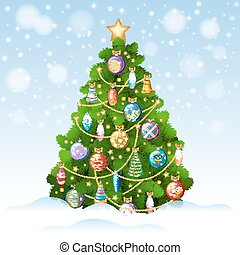 Christmas tree with colorful ornaments, vector illustration.