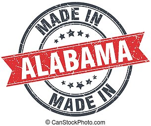 made in Alabama red round vintage stamp