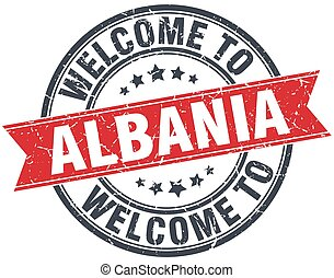 welcome to Albania red round vintage stamp