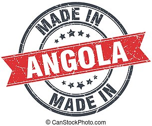 made in Angola red round vintage stamp