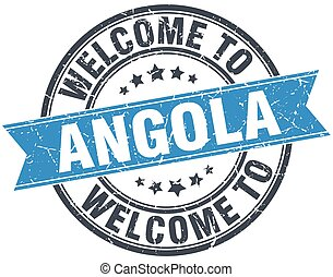 welcome to Angola blue round vintage stamp