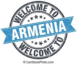 welcome to Armenia blue round vintage stamp