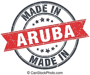 made in Aruba red round vintage stamp